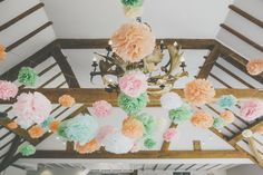 Rosie and Kimberley's Peach and Mint Country Rustic Wedding. By Millie Benbow Mint Rustic Wedding, Boho Wedding, Wedding Blog, Dream Wedding, Paper Pom Poms, Our Wedding Day, Table Decorations, Hanging Decorations, Paper Flowers