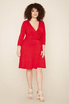 Forever 21+ - A knit mini dress featuring a surplice neckline, self-tie front, 3/4 sleeves and a loosely flared hem.