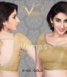 Buy Inner cut pattern Saree Blouse. X124 gold.  readymade-blouse online