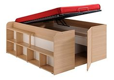 Amazon.com: Parisot Space Up Bed and Storage, Full, Oak: Kitchen & Dining