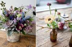 """Studio Choo   Specializing in """"wild"""" and """"undone"""" arrangements, these gorgeous clusters are often stuck into collectable apothecary jars and other vintage holders. Go for a full-blown arrangement (left) or a few subtle blooms in a bottle (right)."""