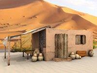 3d old egyptian house model
