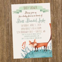 Woodland Creatures Baby Shower Invitation- Digital