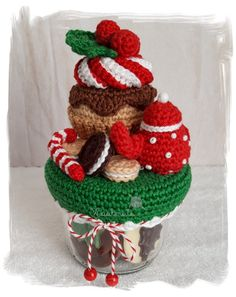 Christmas Time, Christmas Crafts, Christmas Decorations, Christmas Ornaments, Holiday, Crochet Jar Covers, Crochet Dolls, Crafts To Sell, Free Crochet