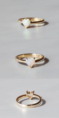 Minimalist Heart Shaped Australian Solid Opal Engagement Ring in 14K Yellow Gold   eBay