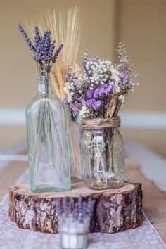 2019 brides favorite weeding color stylish shade of purple-rustic purple wedding centerpieces, baby breath and lavender wedding flowers, spring weddings, wedding decorations Purple Wedding Centerpieces, Purple Wedding Invitations, Lavender Wedding Decorations, Flower Centrepieces, Centerpiece Ideas, Table Flowers, Wood Slice Centerpiece, Purple Table Decorations, Wheat Centerpieces