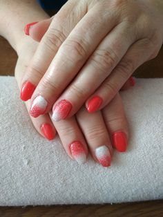 red gel, red and white ombre