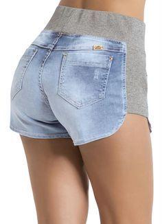 Shorts Jeans Sawary Azul e Cinza Boyfriend - Posthaus