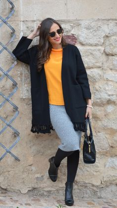 """Mixed -  As first seen on blog """"1000 maneras de vestir"""" here: Mixed  She is wearing tights similar here: Black Semi Gloss Opaque Tights Strut your stuff with a new neutral. These super opaque tights add a splash of muted color to any look.  #tights #pantyhose #hosiery #nylons #tightslover #pantyhoselover #nylonlover #legs"""