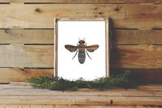 Bee Print, Rustic Wall Art, Digital Print, Bee Silhouette, Wall Print, Instant Download, Wood Decor, Wooden Bee, Nursery Decor, Bee Art