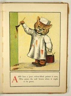 """From """"A cat alphabet and picture book for little folk"""" by Louis Wain, ca. 1910s…"""