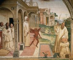 In this 16th-century painting, Saint Benedict exorcises a demon from a man possessed.