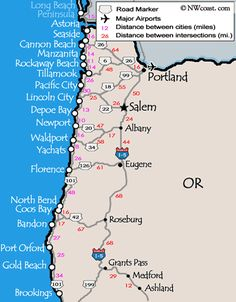 oregon coast map: My bucket list is to take my kids to all these places. <3