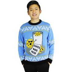 Cookie Hungry Santa Adult Ugly Christmas Sweater - 410092 | trendyhalloween.com Easy Costumes, Super Hero Costumes, Christmas Costumes, Halloween Costumes, Baby Blue Sweater, Blue Sweaters, Career Costumes, Jack Skellington Costume, Movie Character Costumes