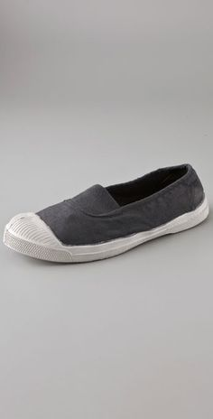 Bensimon canvas slip on sneakers. Tres chic. I live for cap toe slip on sneakers.