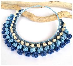 crochet necklaceblue white crochet necklacepom pom by Marmotescu