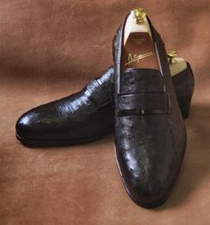 Bespoke ostrich leather loafers
