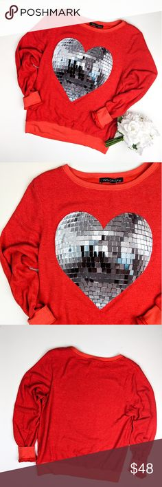 NWOT Wildfox disco heart sweater ❤️ Adorable red pullover from Wildfox featuring a silver disco ball heart. New without tags. Cute and cozy! Size XS. Wildfox Tops Sweatshirts & Hoodies