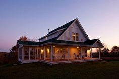 Unique Farmhouse for Mid-Size Family w/ Porch (Plans Available!) | Metal Building Homes