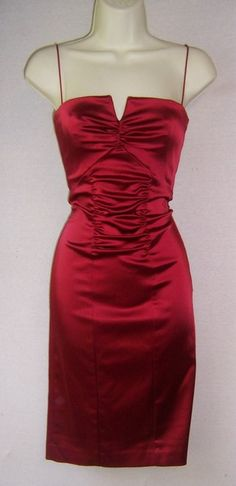 Nicole Miller Red Ruched Cocktail Dress