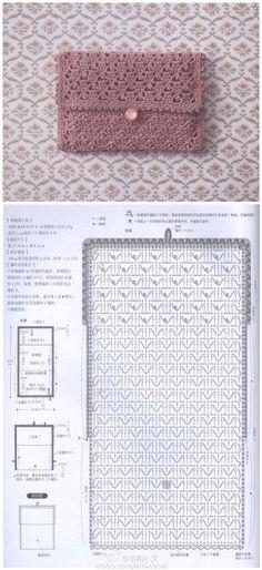 new ideas for crochet bag pattern diagram patrones Crochet Diy, Crochet Design, Crochet Stitches Free, Crochet Purse Patterns, Crochet Pouch, Crochet Shell Stitch, Crochet Diagram, Bead Crochet, Crochet Hats