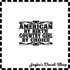 AMERICAN COUNTRY GIRL 55 x 73 Car Window Decal by JaykasDecalShop, $7.99