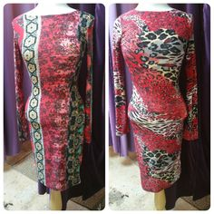 Plus Size Red Crew Neck Long Sleeve Paisley Print or Animal Print Knee Length Dress #PlusSize #Red #CrewNeck #LongSleeve #PaisleyPrint #AnimalPrint #KneeLength #Dress