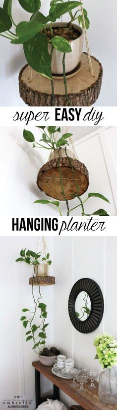 Do you have pets or small children? Do you find that it's difficult keeping your plants alive in your home? My solution? Try this DIY Hanging Planter! Hanging Planters Easy DIY Hanging Planter Using a Wood Slice and Rope