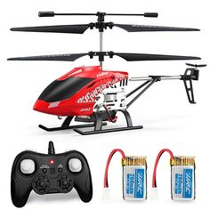 Helicopter with Remote Control, JJRC Helicopter Altitude Hold Helicopter with for Kids, Gyro and LED Light for RTF Crash Resistance Helicopter RC Drone Toy Gift (Red) Remote Control Drone, Rc Remote, Radio Control, Drone Gps, Small Drones, Rc Helicopter, Led, Cool Toys, Mini