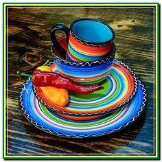 western home decor Serape Sunrise Plate Set. Love this bright and fun serape western home decor! Mexican Kitchen Decor, Mexican Home Decor, Mexican Kitchens, Fiesta Kitchen, Mexican Bedroom, Ranch Kitchen, Home Decor Colors, Colorful Decor, Home Decor Accessories