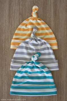 Stretchy Baby Hats...with Top Knots (template included)   Make It and Love It