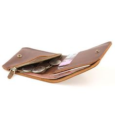 Genuine Leather Slim Wallet Folded Short Wallet Clutch Card Wallet Coin Purse  Women Mens 0c6d0758643a9