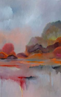 """""""Foggy Autumn.Large painting, 30"""" x 48""""."""" by Veta  Barker. Oil painting on Canvas, Subject: Landscapes, sea and sky, Impressionistic style, One of a kind artwork, Signed on the back, This artwork is sold unframed, Size: 76.2 x 121.92 x 3.81 cm (unframed), 30 x 48 x 1.5 in (unframed), Materials: oil, canvas"""