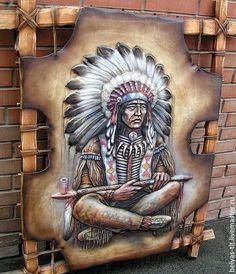 """Купить Панно из натуральной кожи """"Вождь"""" - панно, для интерьера, панно на стену, панно настенное"""