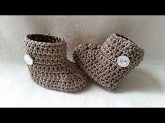Crochet Baby Bootie - Winter Bootie - Babyshoe - Part 2 - Sides by BerlinCrochet - YouTube