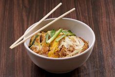 Here's a recipe for Katsudon, a popular Japanese bowl dish of tonkatsu, or breaded deep-fried pork, and eggs in a sweet and salty broth over rice.