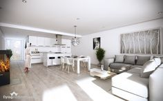 Flying Architecture White on white on barely gray is the perfect recipe for a small space made big and modern.