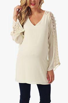 Ivory Crochet Sleeve Maternity Tunic