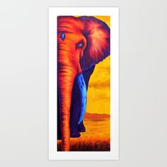 Sunset Elephant Art Print by Tyler Wise. Worldwide shipping available at Society6.com. Just one of millions of high quality products available.