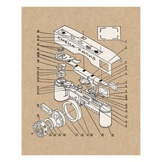 Exploded view camera art print