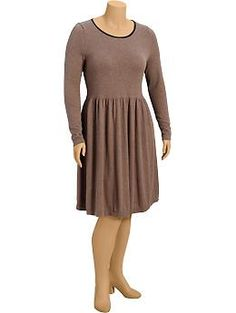 Womens Plus Fit & Flare Sweater Dresses