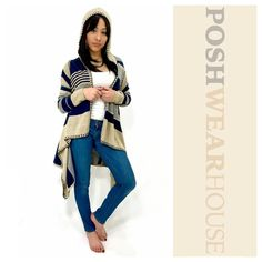 Tan & Blue Hooded Cardigan www.poshwearhouse.com  Like what you see? Follow me!  On PM  @PoshWearHouse On IG www.instagram.com/PoshWearHouse On FB www.facebook.com/PoshWearhouse Sweaters Cardigans