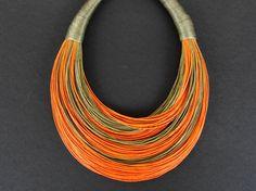 OOAK  Statement Fiber Necklace African Jewelry by superlittlecute