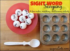 "Sight word scooping activity to learn & match sight words with ping pong balls. - by Sugar Aunts ("",)"