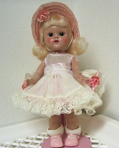 Vintage Dressed 1954 PLW Vogue Ginny Doll #74 Whiz Kids Lace Trimmed Party Outfit All Original