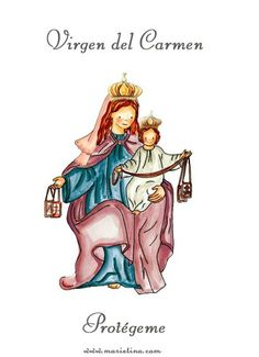 Virgen del Carmen Blessed Mother Mary, Blessed Virgin Mary, Mont Carmel, Christian Friends, Science Illustration, Mama Mary, Madonna And Child, Christian Art, Coloring Books