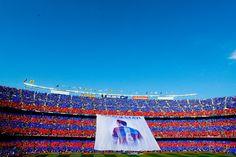 FC Barcelona fans display a huge banner tribute to Xavi Hernanez prior to the La Liga match between FC Barcelona and RC Deportivo de la Coruna at Camp Nou on May 23, 2015 in Barcelona, Catalonia.