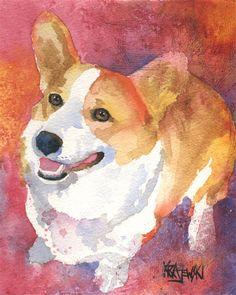 Welsh Corgi Art Print of Original Watercolor by dogartstudio,