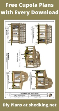 With every shed plan you download at shedking you get a free cupola plan. Barn plans, shed plans, lean to plans, saltbox shed plans and more. Use them to build storage sheds, shed houses, garden sheds and more. Plans come complete with building guide, materials list and email support. You might just save some money too on your download. Shed Building Plans, Diy Shed Plans, Barn Plans, Cabin Plans With Loft, Small Cabin Plans, Livable Sheds, 3d Building Models, Backyard Barn, Mini Barn