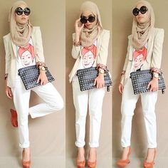 Love the coat, shirt, pant, show combo - can leave out the headscarf, glasses and purse, though a cute scarf might be in order!
